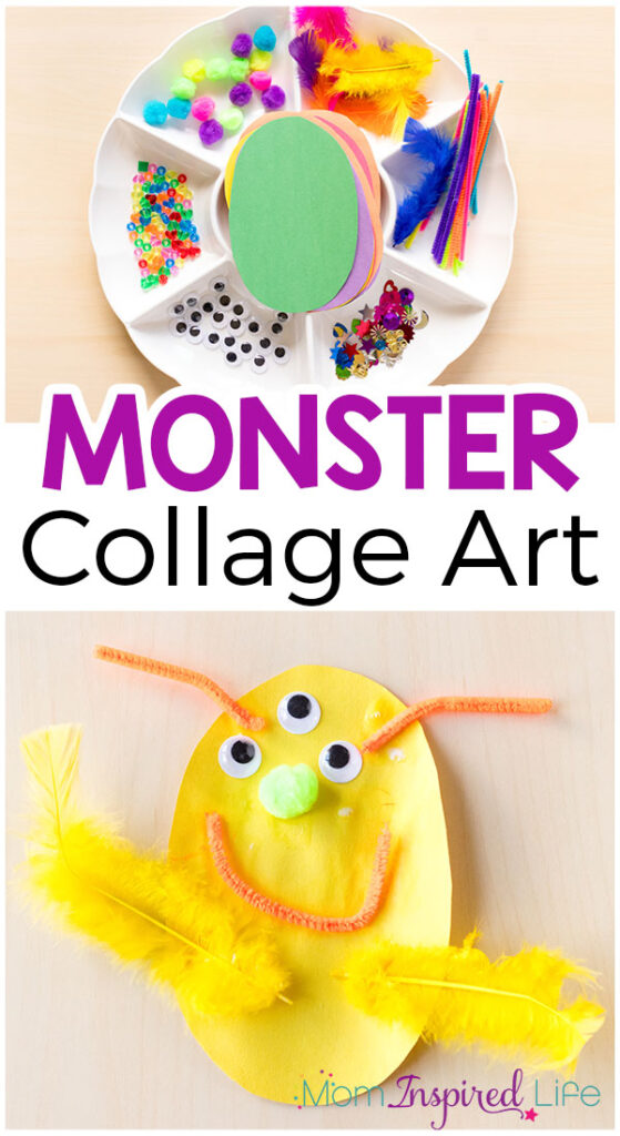 This monster collage activity is super simple to set up and lots of fun. If you are looking for a great craft for fall or Halloween, this is perfect!