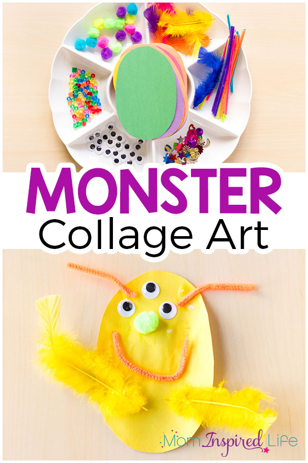 This monster collage art activity is such a fun arts and crafts project for fall or Halloween.