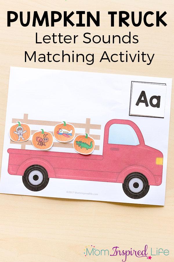Printable pumpkin alphabet activity. Pumpkin literacy center. Pumpkin letter sounds matching.