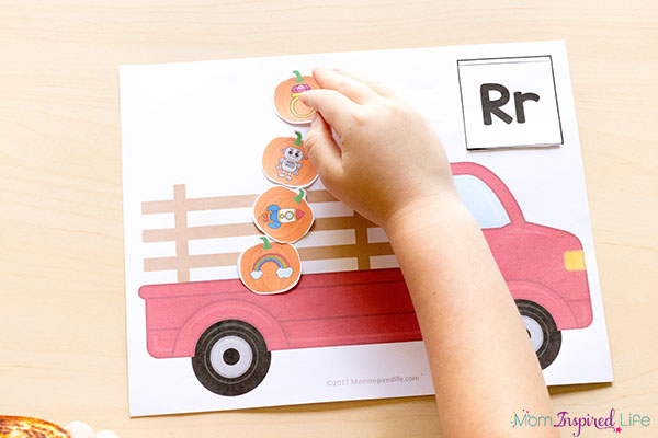 A fun printable pumpkin alphabet activity for pre-k and kindergarten.