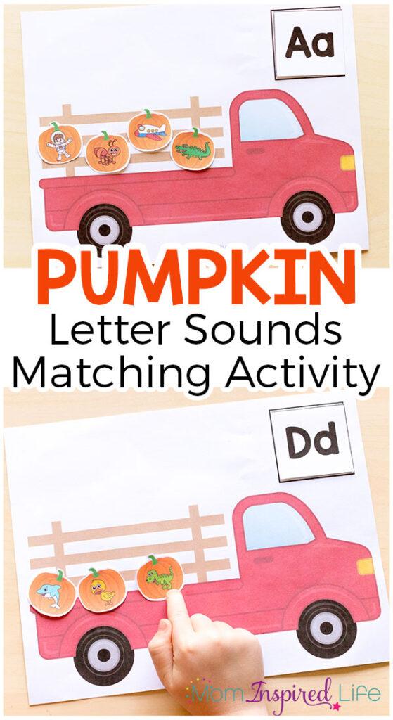A fun printable pumpkin alphabet activity. A fun fall literacy center idea.