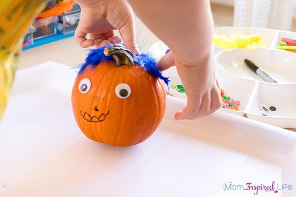 Pumpkin process art activity for kids.