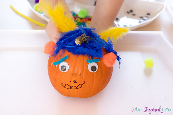 Pumpkin collage art activity. A fun fall art activity for kids.