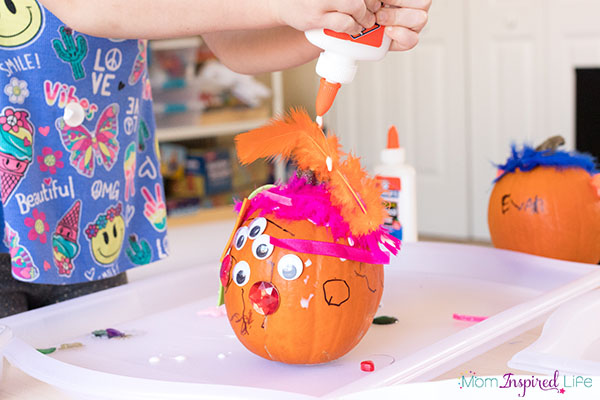This pumpkin art activity is fun collage project for kids.