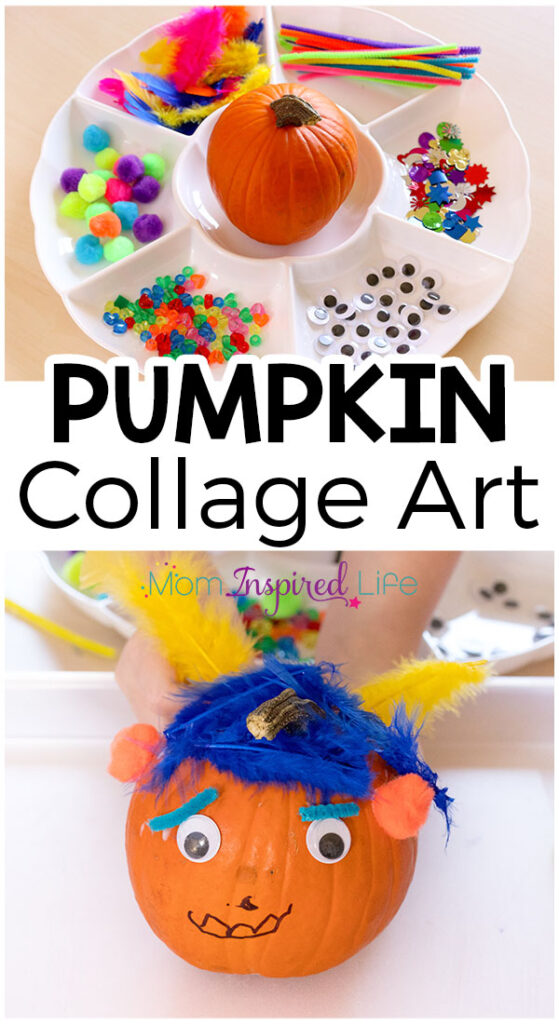 This pumpkin collage art activity is a fun fall craft and open-ended process art activity! Your kids will have a blast with this fall art project!