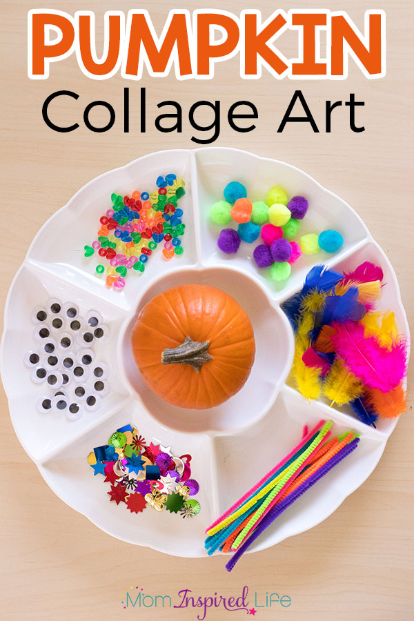 Pumpkin collage art activity for preschoolers and young kids. A fun fall art activity!