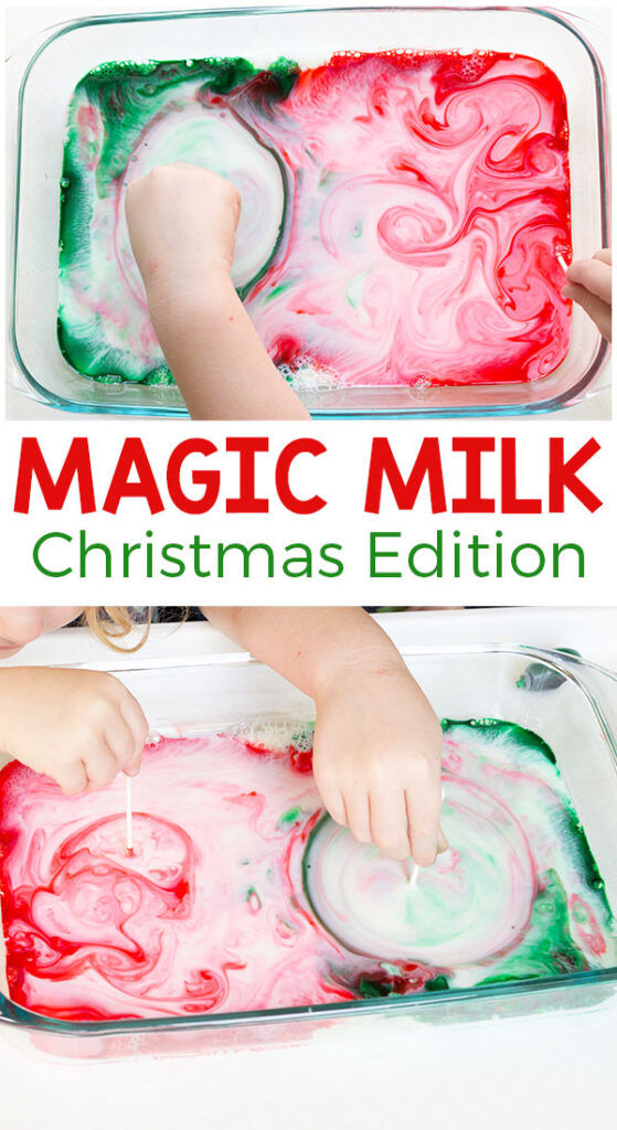 This Christmas magic milk science experiment is so awesome! Add a holiday spin to this classic science activity for kids and they are sure to have a blast!