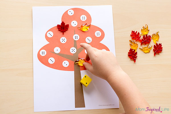 Fall math game for preschool and kindergarten.