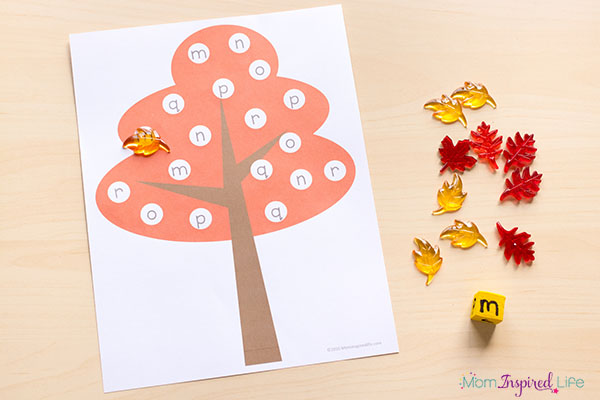 Fall alphabet game for preschool and kindergarten.