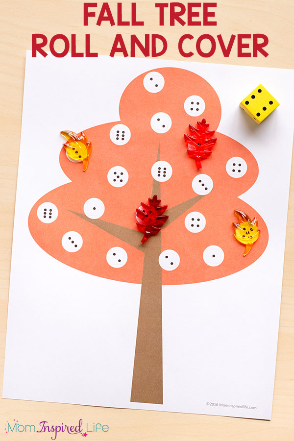 A hands-on fall math game and alphabet game for preschool and kindergarten.
