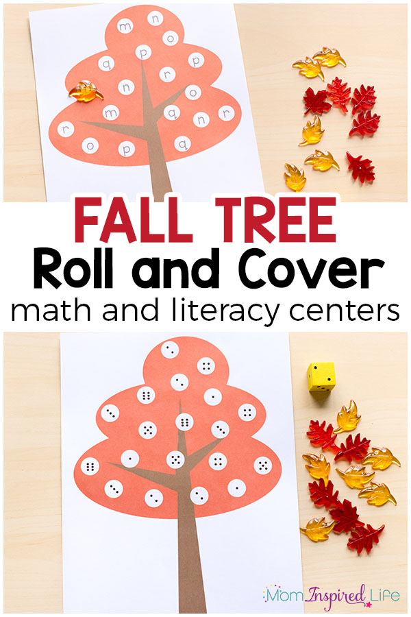 This fall tree roll and cover activity is a hands-on way for kids to learn letters and numbers this fall. It is perfect for fall math and literacy centers!