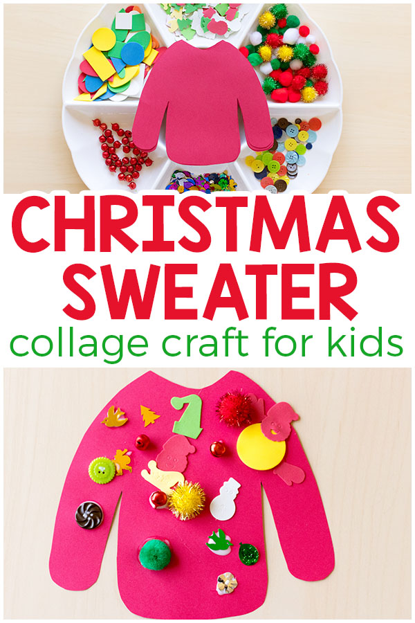 This ugly Christmas sweater craft is a fun collage art activity for kids to do this Christmas! #Christmas #craft #art #kids