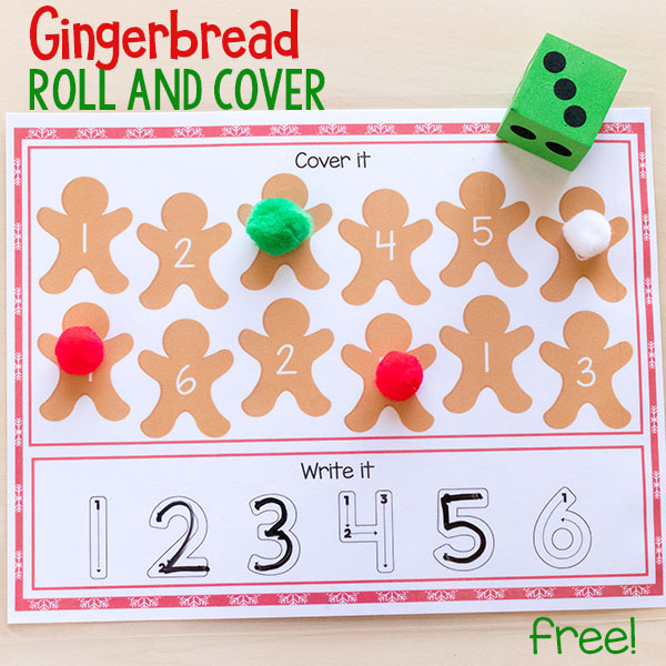 Gingerbread number sense activity for Christmas centers in preschool and kindergarten.