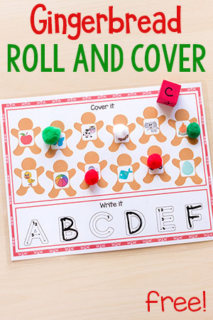 These gingerbread roll and cover mats are perfect for Christmas math and literacy centers or homeschool lessons. #Christmas #Christmasforkids #centers #math #literacy