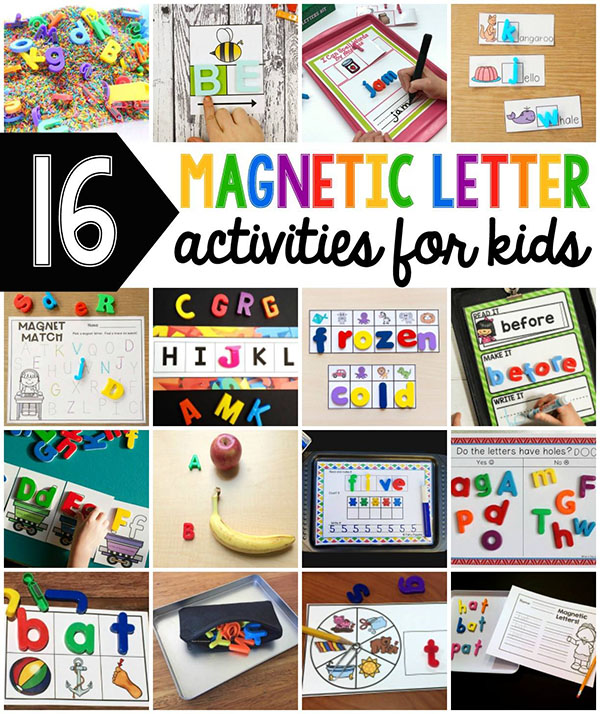 Lots of fun an engaging magnetic letter activities for kids. Learning activities with magnetic letters.