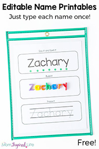 NAME SPELLING AND TRACING SHEETS