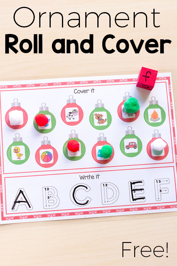 Christmas roll and cover alphabet activity mats. #Christmas #literacy #alphabet #alphabetactivity #Christmasforkids