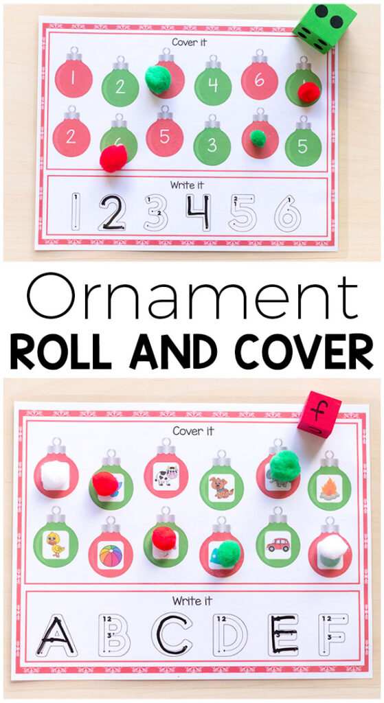 These ornament roll and cover mats are a fun way for kids to develop literacy and math skills. They would be perfect for Christmas centers or for at home. #Christmas #Christmasforkids #centers #literacy #math