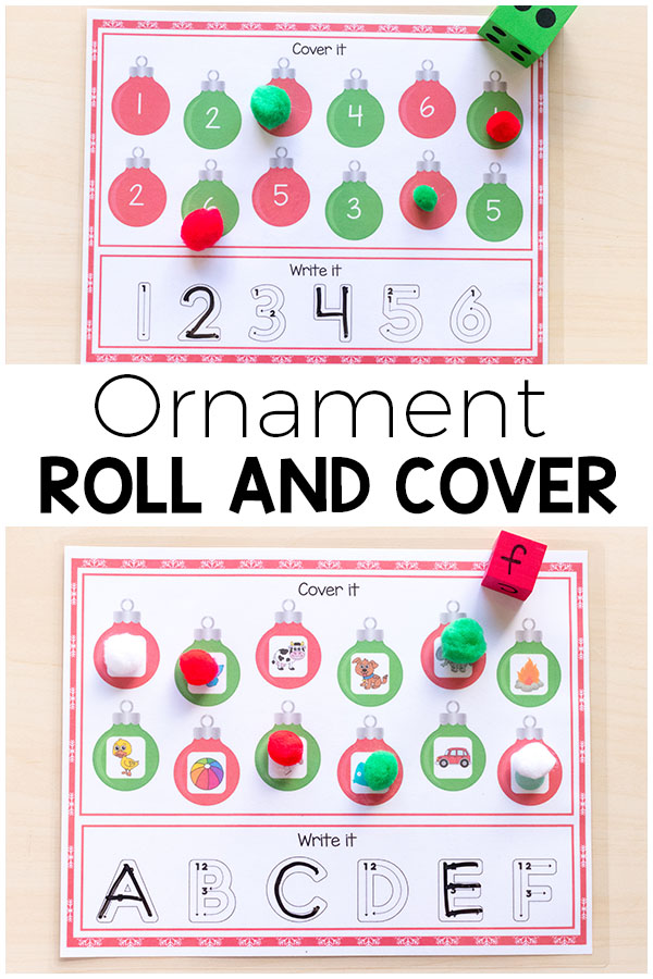 Christmas ornament roll and cover mats. These are perfect for Christmas math and literacy centers. #Christmas #Christmasforkids #centers #literacy #math