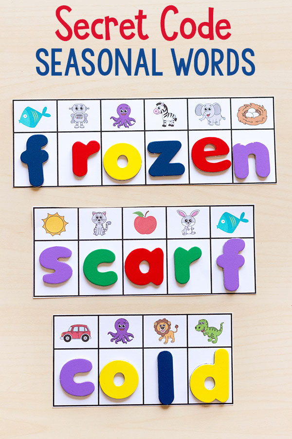 This secret code seasonal word activity is an awesome literacy center idea and fun word building activity!