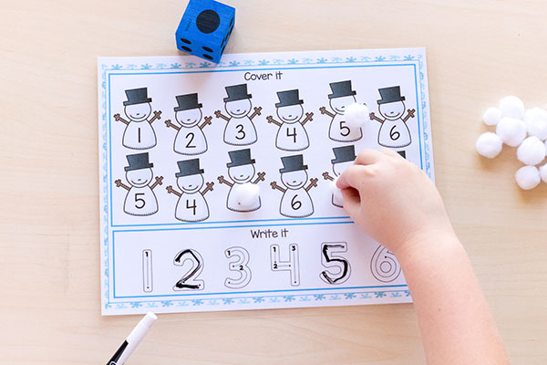 Snowman roll and cover mats are perfect for winter centers!