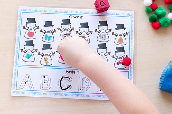 Snowman theme activities for kids.