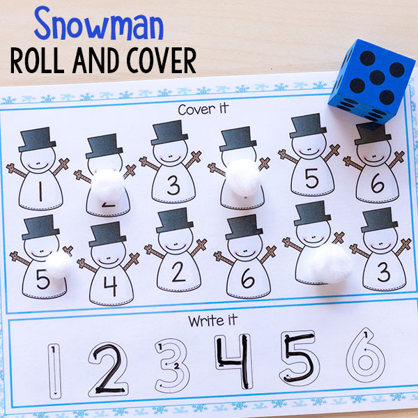 Snowman math and literacy centers for winter.