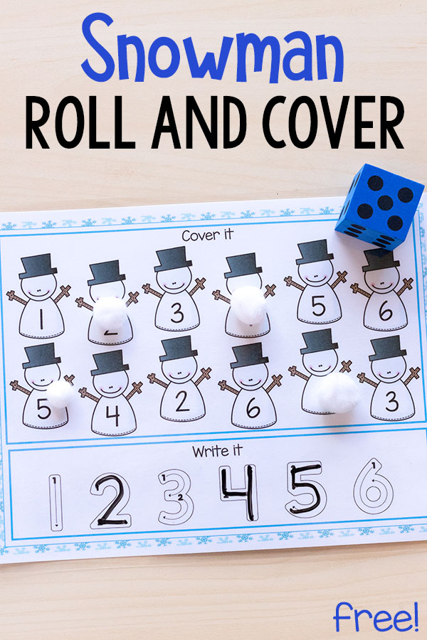 These snowman roll and cover mats make learning number sense and letter sounds fun and engaging for kids. These are perfect for winter centers or homeschool!