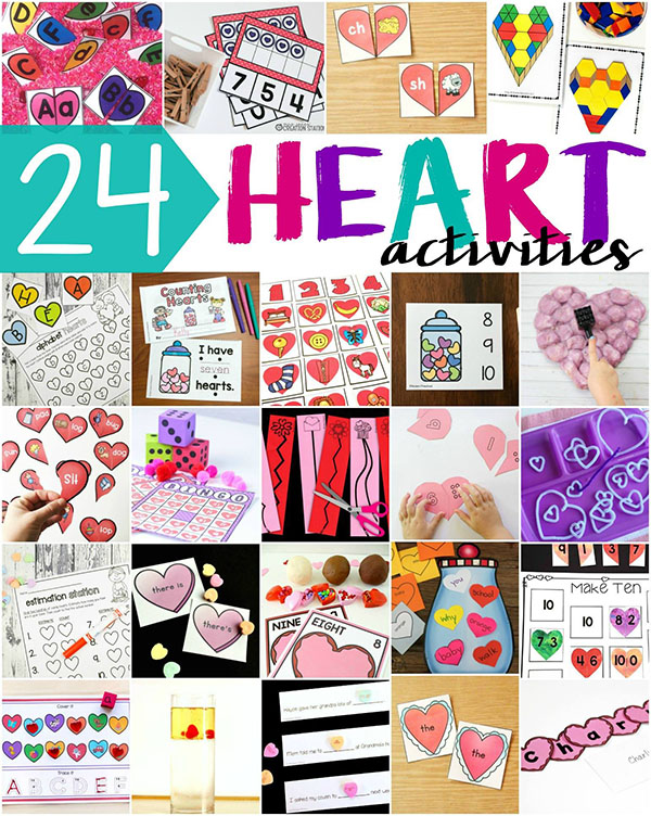 So many fun heart activities for kids! These are perfect for your heart theme lesson plans!