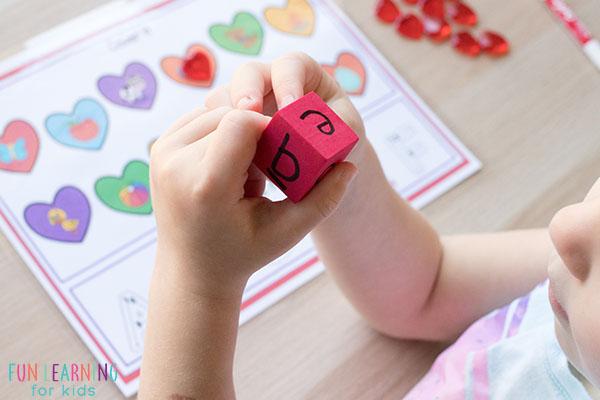 Heart alphabet activity for preschool and kindergarten.