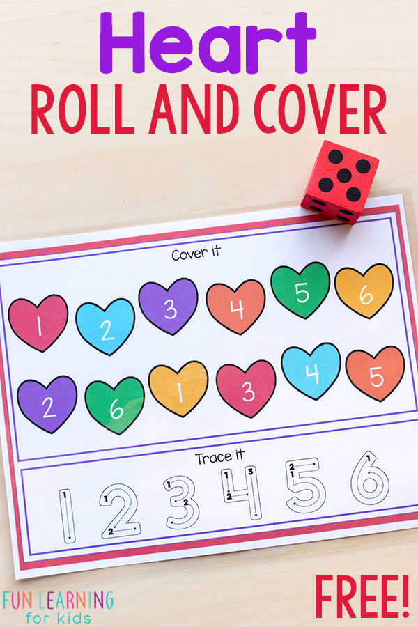 This heart roll and cover activity is perfect for math and literacy centers this Valentine's Day!
