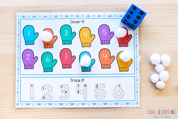 This winter math center idea is a fun way for preschoolers and kindergarten students to learn numbers and number sense.