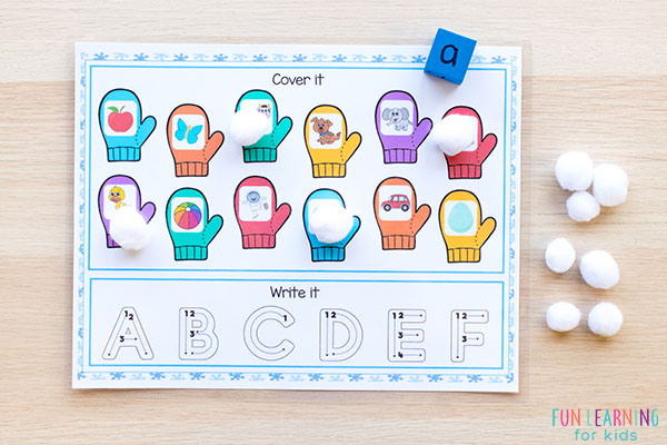 This winter activity for kids is a fun way to learn letters and letter sounds.