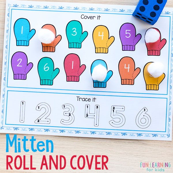This winter math activity is a great way for kids in preschool and kindergarten to learn numbers and number sense.