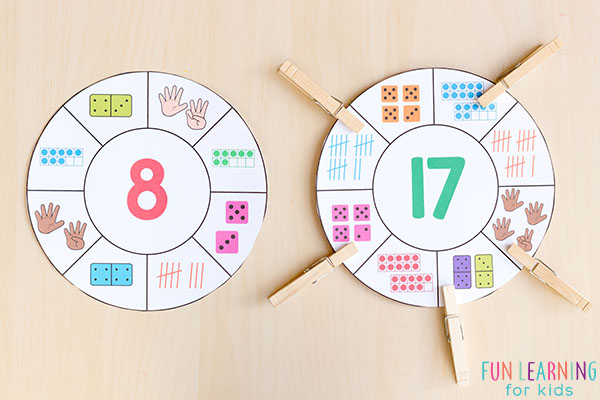 Number sense clip wheel cards.