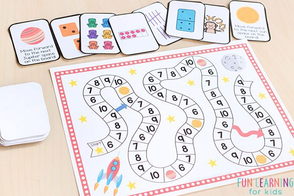 Learning numbers 6-10 board game.