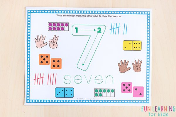 These play dough mats teach number formation and number sense.