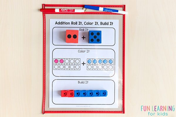 Roll, color and add mats that teach adding within 20.