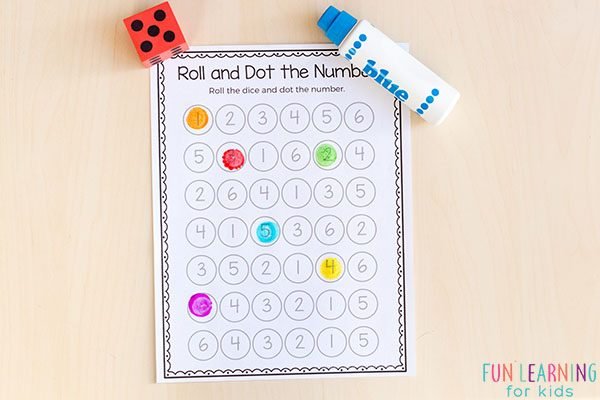 Roll and dot the number game.
