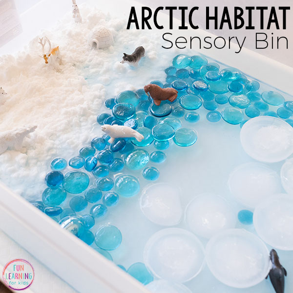 Arctic sensory bin with arctic animals.