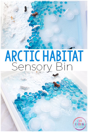 A fun arctic sensory bin with snow dough and ice.