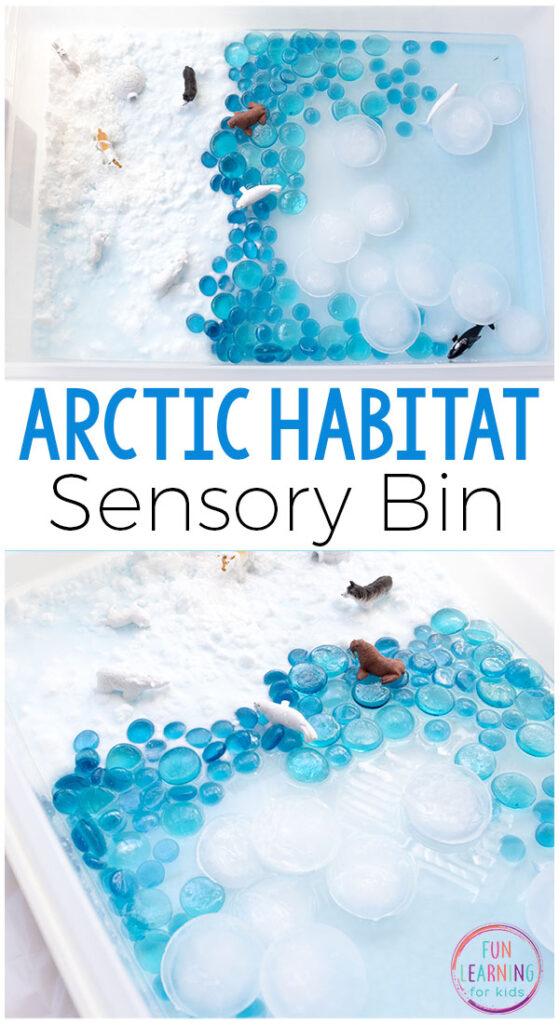 Arctic sensory bin for winter.