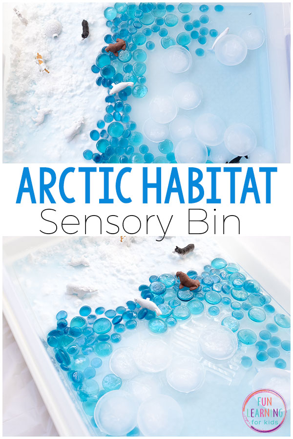 Arctic sensory bin for winter fun and learning. Kids will love learning about the arctic habitat while engaging in sensory play.