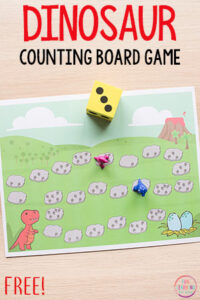 Dinosaur board game math activity for preschool and kindergarten. This counting and addition activity is perfect math centers!