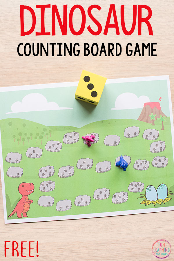Dinosaur Board Game Math Activity For Preschool And Kindergarten This Counting Addition Is