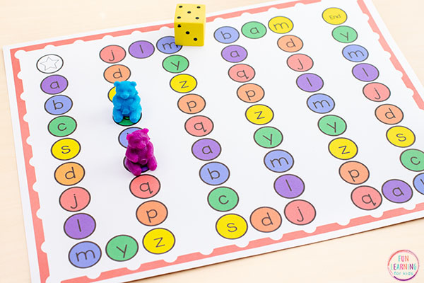 Teach letters and beginning letter sounds with a fun editable board game!
