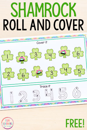This St. Patrick's Day roll and cover math activity is a fun, hands-on math center idea for pre-k, kindergarten and early elementary.