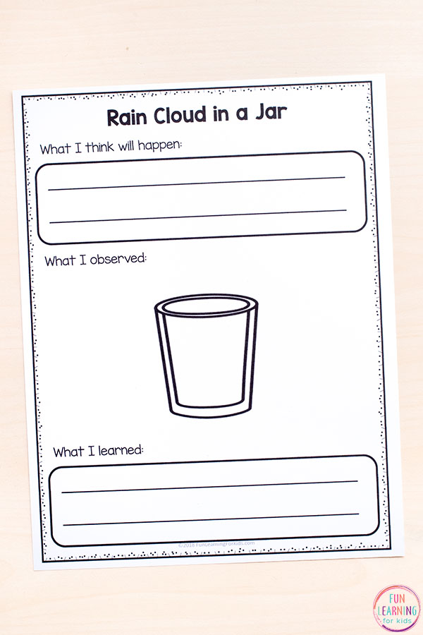 Rain cloud in a jar science recording sheets for elementary students.