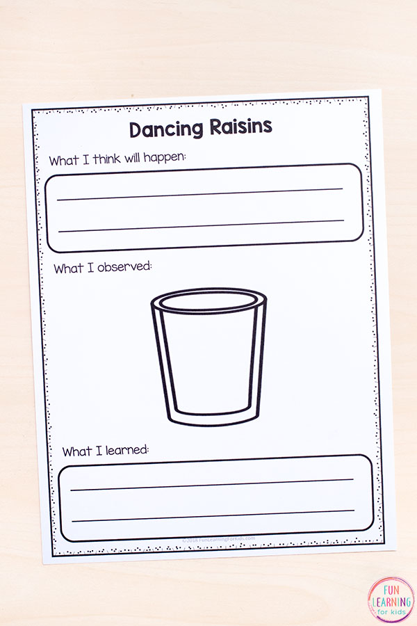 Dancing raisins printable recording sheets.