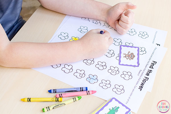 Find and color the flower alphabet activity for your literacy centers.